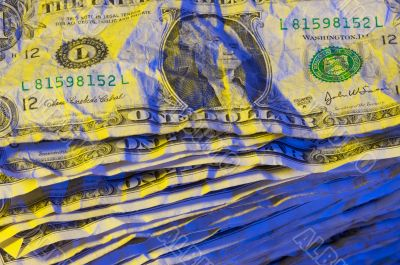 Pile of Crumpled Dollar Bills.
