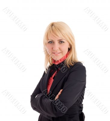 Attractive businesswoman cross hands and look at camera