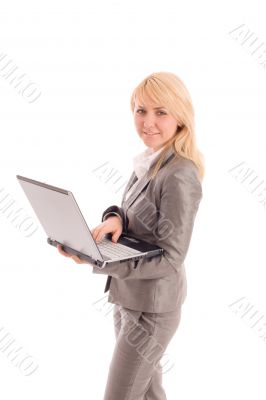Businesswoman with laptop in hands