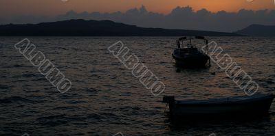 Sunset on a greek island santorini
