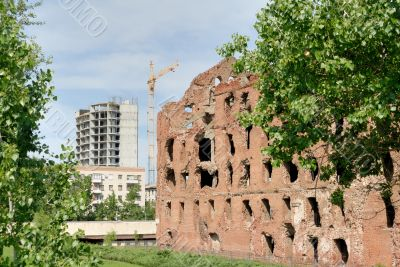 Museum - panorama `Stalingrad fight` - `The destroyed mill`. Volgograd. Russia.