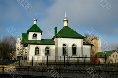 Orthodox temple on the central area of the city of Frolovo. The