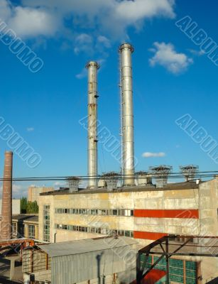 Two pipes on a roof of a boiler-house in Volgograd Russia