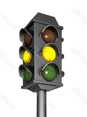 3d traffic light with a burning yellow signal