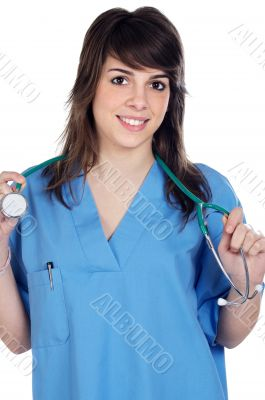 Girl doctor with stethoscope