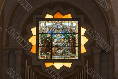 Stained-glass with Jesus born