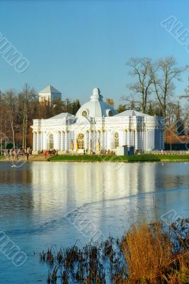 Iced lake with classical building