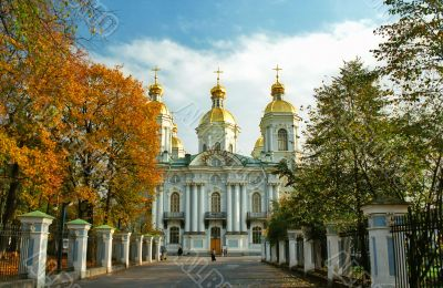 View of Russian cathedral in calm autumn weather