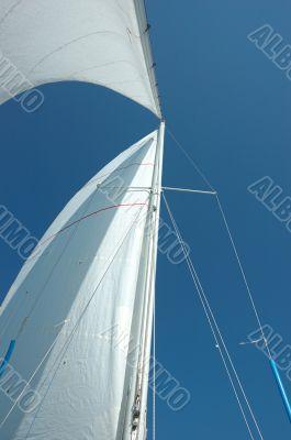Sails,mast and the blue sky