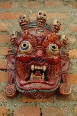 Mahakala mask with crown  with five skulls