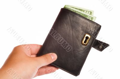 Money safe concept - wallet with lock