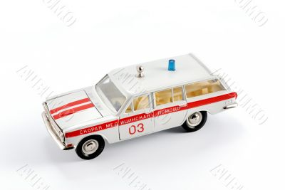 Collection scale model of the car first aid