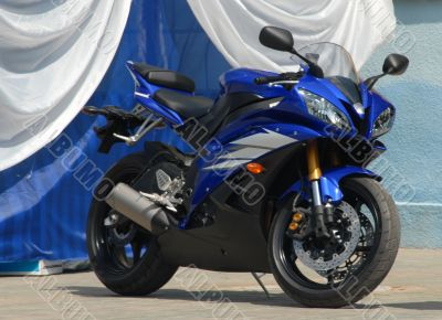 Dark blue sports motorcycle.