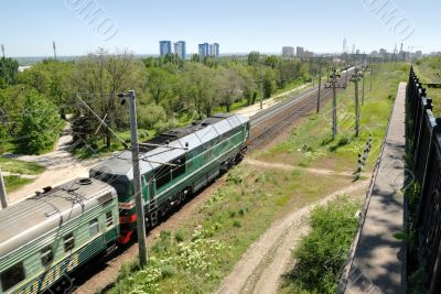 Russia. Volgograd. A diesel locomotive on tracks.