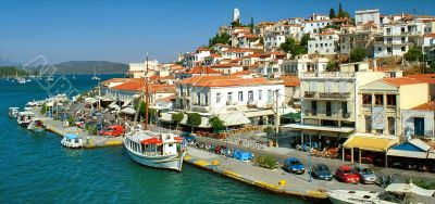 View of quay of picturesque greek town