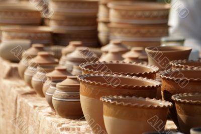 Clay pots made manually
