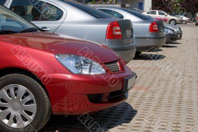Company cars, parked