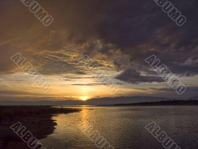 sundown sun on lake Baikal