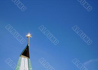 In bright sunshine spire in El Tablero, Spain.