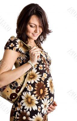 21 weeks happy pregnant woman
