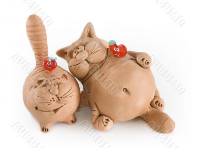Two clay funny cats