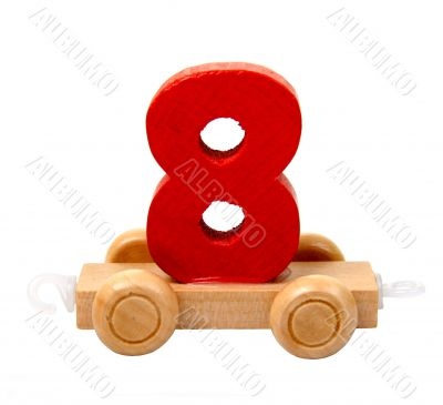 isolated wooden number eight