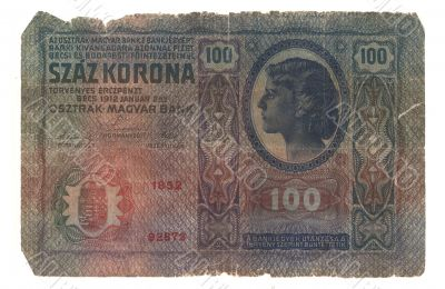 very old Hungarian banknote 1912