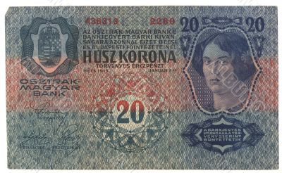 very old Hungarian banknote 1913