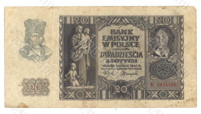 High- very old Polish banknote 1940