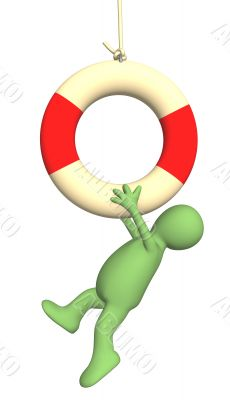3d puppet hanging on a lifebuoy ring
