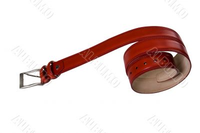 convolute in spiral red belt with buckle