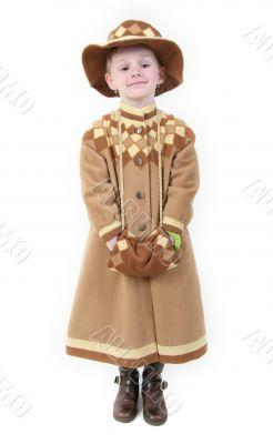 happy girl in brown coat