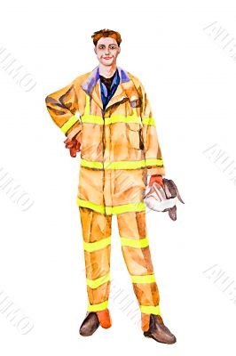 Man winning fire illustration