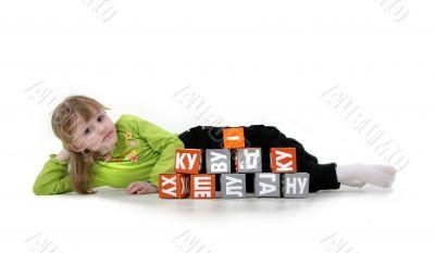 girl play with bricks