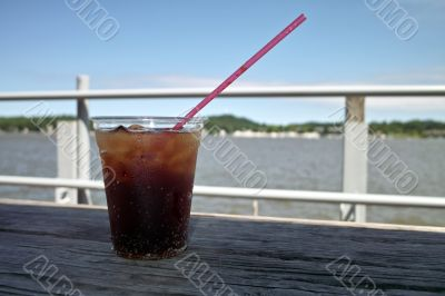 Cold Drink On A Dock