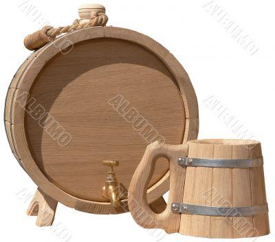 isolated elegant handmade barrel and beer mug