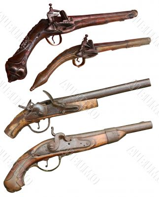 Isolated vintage pistols of  XIVII-XIX centuries