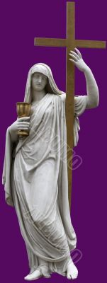 Isolated marble St. Mary with Holy Cross