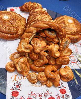 Handmade festive Bread Horn of Plenty