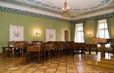 Ancient interior of a school room