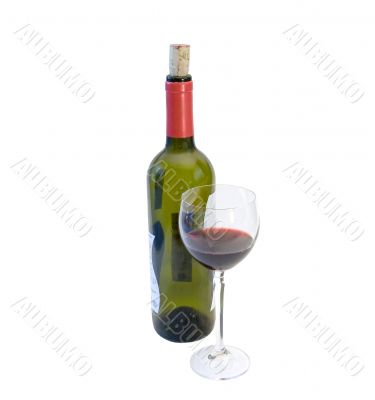 Wine bottle whith glass