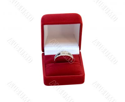 Diamond ring with sapphire in box