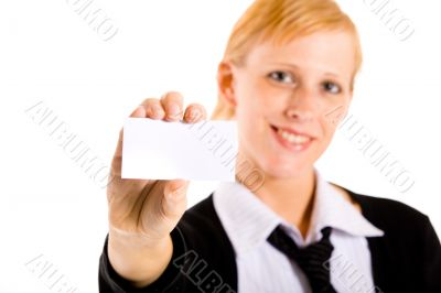 Business woman with her business card
