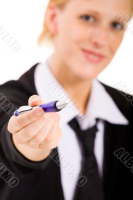 Business woman with a pen