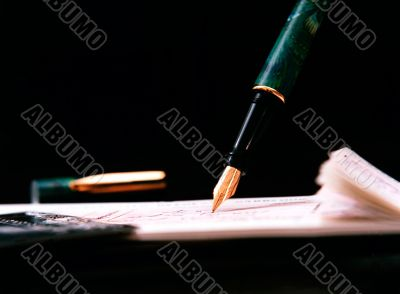 Details of pen writing cheque