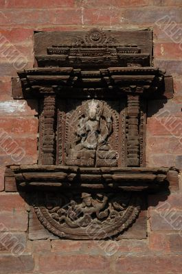 Old window in the Bhaktapur palace,Nepal