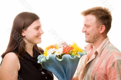 man, woman and flowers