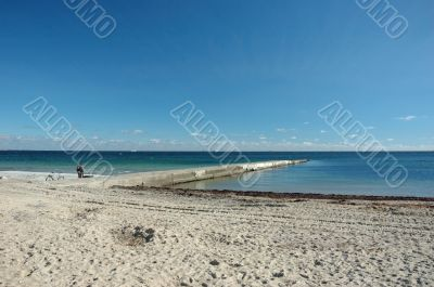 Deserted public beach