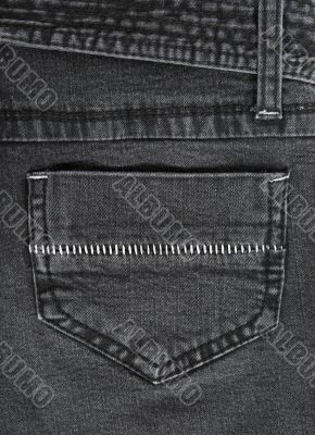 Black jeans pocket with white stitches