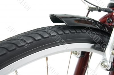 Closeup of a front bicycle wheel